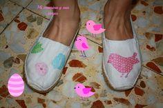 zapatillas de esparto decoradas con servilletas