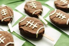 Frozen Footballs ~ These would be cute for a sports themed birthday, instead of a boring scoop of ice cream w/cake.