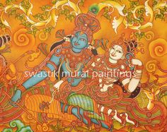 mural paintings# mural paintings of kerala# canvas paintings# acrylic paintings Kerala Mural Painting, Tanjore Painting, Krishna Painting, Ganesha Art, Krishna Art, Krishna Leela, Indian Women Painting, Mural Art, Murals