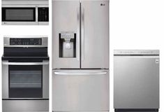 LG 4 Piece Kitchen Appliances Package with 36 Inch Smart French Door Refrigerator, 30 Inch Gas Range, 30 Inch Over the Range Microwave and 24 Inch Built In Full Console Dishwasher in Stainless Steel Laundry Room Appliances, Built In Kitchen Appliances, Stainless Steel Kitchen Cabinets, Kitchen Appliance Packages, Kitchen Refrigerator, French Door Refrigerator, Kitchen Cabinets Pictures, Kitchen Images, Appliance Sale