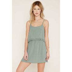 Forever21 Crochet-Trimmed Cami Dress (33 CNY) ❤ liked on Polyvore featuring dresses, sage, short ruffle dress, sage green dresses, green cami, forever 21 dresses and layered dress