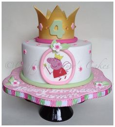 This one was made for a little princess in the family……. Gumpaste crown was made to tie in with Peppa's crown :0)