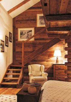 The wood makes this bedroom so warm and inviting.