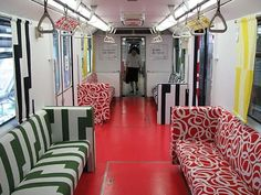 Ikea put their furniture on the subway trains. Looks great!  Picture from Going Underground's Blog