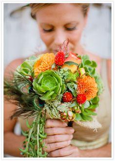 Amazing succulent wedding bouquet!  I'm loving succulents lately!