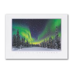 Northern Light Show Holiday Card http://partyblockinvitations.occasions-sa.com/Holiday/Seasons-Greetings-Cards/YM-YMM1188-Northern-Light-Show--Holiday-Card.pro