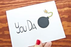 Funny Thank You, Love You Card - You Da Bomb. Boyfriend. Girlfriend. Friend.