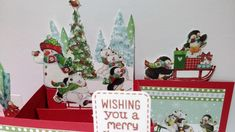 """I decided to merge two card folds into one! So I made a Z-Fold Pop-up Box card! I used the gorgeous new Helz Cuppleditch """"Wonderland"""" papers and decoupage. Pop Up Box Cards, Decoupage, Wonderland, Merry, Christmas Ornaments, Holiday Decor, Paper, Crafts, Inspiration"""