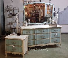 Vintage Dixie Dresser, Mirror, Night stand painted with ASCP Coco Country Grey Old Ochre Old White & Duck Egg with clear & dark waxes