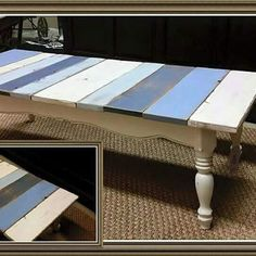Reclaimed barn wood and Dixie Belle paints combine to give this old coffee table a modern coastal look! Amy from Vintage Thistle used Fluff, Yankee Blue, Blueberry and a 50/50 mix of Fluff & Blueberry to paint the table. She then wiped the entire table