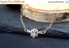 FALL SALE 925 Sterling Silver Lotus Necklace | Lotus Flower Yoga Necklace | Protection Jewelry | Sterling Silver Delicate Necklace