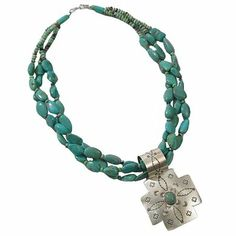Turquoise Necklace & Cross | King Ranch