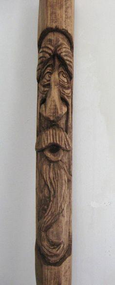 Wood Spirit Walking Stick | The Old Worried Spirit (wood spirit walking stick)