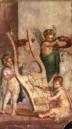 Herculaneum, fresco of Cupids playing a Roman Kithara.