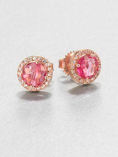 Semi-Precious Multi-Stone & 14K Rose Gold Stud Earrings - Zoom - Saks Fifth Avenue Mobile