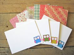 Owl Notecards-Set of 8, blank owl stationery. $12.00, via Etsy.