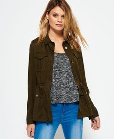 Superdry Luxe Utility Shirt Jacket Green £30 sale