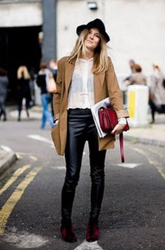 2343955a6503 black leather pants white button down street style Sienna Miller Style,  London Girls, Leather