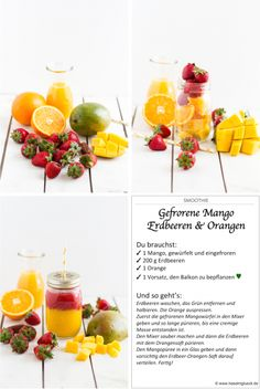 Smoothie Gefrorene Mango, Erdbeeren & Orange I Smoothie Frozen Mango, Strawberries & Orange I haseimglueck.de