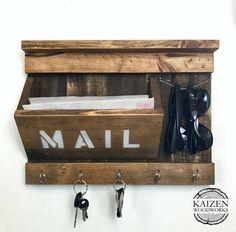 Rustic Entryway Organizer  Mail / Keys / by KaizenWoodworks