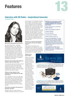 Sussex Jewish News - Feature on The Shabbat Collection Question And Answer, This Or That Questions, Innovation, Interview, Concept, Goals, News, Inspiration, Collection