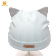 NEW Solid Newborn Cotton Girls Boys Beanies With Ears
