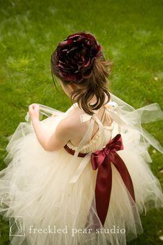 Ivory Tutu Dress with Burgundy Sash  NB  3T by littledreamersinc, $80.00