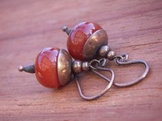 Carnelian Smooth Rondell Earrings with Copper Beadcap by annamei