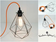 Steel Diamond Vintage Industrial Pendant Wire Cage Desk Lamp Light & Edison Bulb