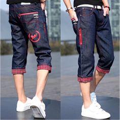 e51a3ba0782 Cheap 2015 nueva Summer Casual hombre pantalones vaqueros cortos clásico  azul marino de algodón Denim cortocircuitos