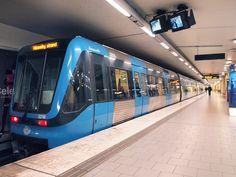 Bombardier C20 train on line 19 at St Eriksplan station on Stockholm Metro