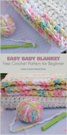 Easy Baby Blanket Free Crochet Pattern by helga Crochet Baby Blanket Free Pattern, Easy Crochet Blanket, Blanket Yarn, Free Crochet, Blanket Gifts, Crochet Afghans, Beginner Crochet, Crochet Pillow, Crochet Summer