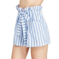 SheIn offers Belted Ruffle Waist Striped Shorts & more to fit your fashionable needs. Cute Shorts, Striped Shorts, Belted Shorts, Patterned Shorts, Short Bleu, Belts For Women, Clothes For Women, Fashion Pants, Fashion Clothes