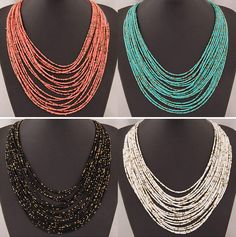SPX5397 Nueva Moda Bohemia Del Grano Collares collares de moda para las mujeres 2014 collares accesorios de La Joyería Del Cuerpo