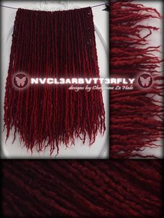 Sparkly Wool Dreads  50DE Ruby Slippers #redhair #rubyslippers #glitterhair #glitterdreads #cosplay #overtherainbow #wooldreads #woolies #red #burgundy #dreads #locs #dreadlocks #nvcl3arbvtt3rfly