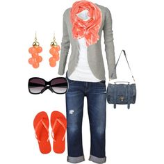 Cruise outfit grey stripe cardigan, created by donna-holmes on Polyvore....I am not too girly, so I would get everything but the scarf and change the earrings.