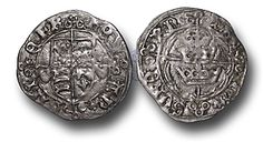 Henry VII (1485-1509), struck under the authority of Gerald Mór FitzGerald, 8th Earl of Kildare (c. 1456–1513), Groat, 1.85g., 23mm, Three Crowns Issues (c. August - October 1487) no mint name (Dublin mint), no regal title, royal arms over long cross terminating in a trefoil of annulets, arms of the Fitzgerald's either side, REX ANGLIE FR, rev., three crowns over long cross terminating in a trefoil of annulets, no h below, DOMINOS VRERN (S.6415)