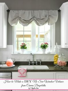 How to Make a No-Sew DIY Window Valance From Canvas Dropcloths ** for the kitchen window Ceramic Tile Backsplash, Painting Ceramic Tiles, Kitchen Backsplash, Kitchen Cabinets, White Cabinets, Kitchen Sink, Painted Tiles, Backsplash Cheap, Copper Backsplash