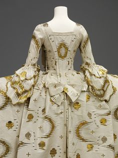 Back detail of Mantua, 1755-1760 England, French woven silk. | V Search the Collections