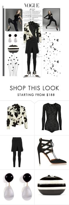 """""""Perfectly Black & White"""" by shape-shifter ❤ liked on Polyvore featuring Vivienne Westwood Anglomania, The Elder Statesman, Aquazzura, Alexis Bittar and Rafe"""