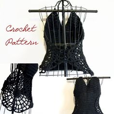 Crochet Pattern: Sexy Spiderwebs Halter Top Goth Crochet Halloween Pattern Small- Medium- Large