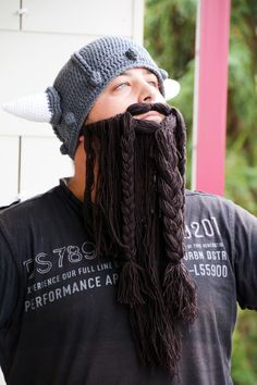 crocheted Viking hat with beard - I did this!