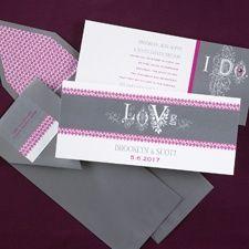 Grey and purple Love & I Do invitations