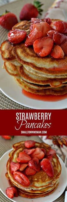 Strawberry Pancakes | Pancakes | Buttermilk Pancakes | Strawberry Recipe | Brunch Recipe