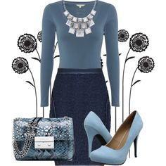 """""""navy/blue pencil skirt outfit idea"""" things to wear ..."""