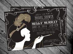 1920's Gatsby Flapper Bridal shower Invitation by MrsInvitation, $15.00  this sounds like a fun theme!!