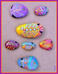 The set of 7 fish rock painting. I am selling the whole set of 7 colourful rock painting fish for dollar.The special thing about painting rock fish is that each one will be different, because ea. Pebble Painting, Pebble Art, Stone Painting, Rock Painting, Fish Rocks, Pet Rocks, River Rocks, Rock Crafts, Arts And Crafts
