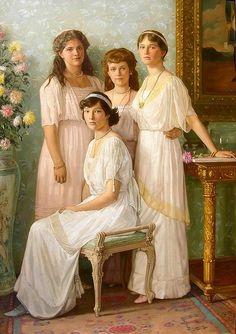 From left: HIH Grand Duchess Marie Nikolaievna (1899-1918), HIH Grand Duchess Tatiana Nikolaievna (1897-1918), HIH Grand Duchess Anastasia Nikolaievna (1901-1918), and HIH Grand Duchess Olga Nikolaievna (1895-1918) of Russia