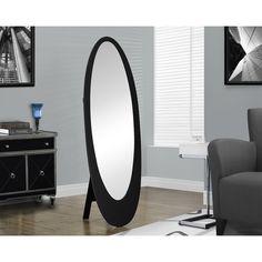 Contemporary Black Oval Cheval Mirror