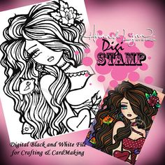 PRINTABLE Valentine Digi Stamp Mermaid Coloring Page Fun Fantasy Art Hannah Lynn